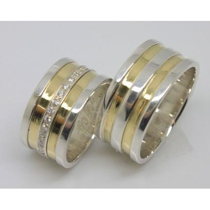 Par Alianças Prata E Ouro 18k 10mm Modelo Jackeline