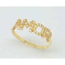 Anel Amor com Zirconias Ouro 18k JSP0547