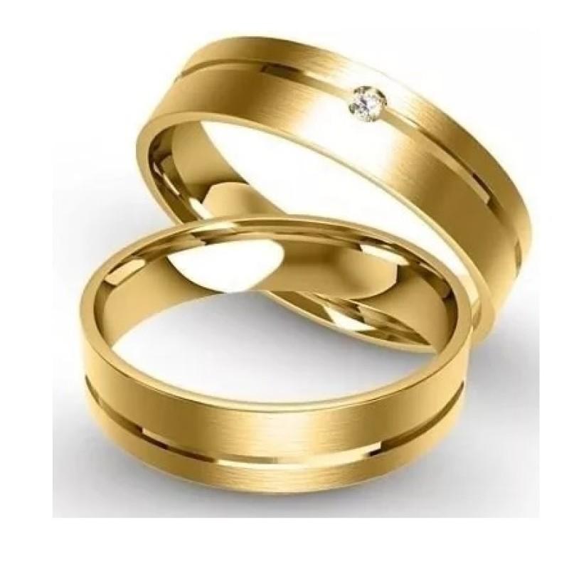 90074305f233a Par Alianças Ouro 18k 750 4mm com Friso e Brilhante