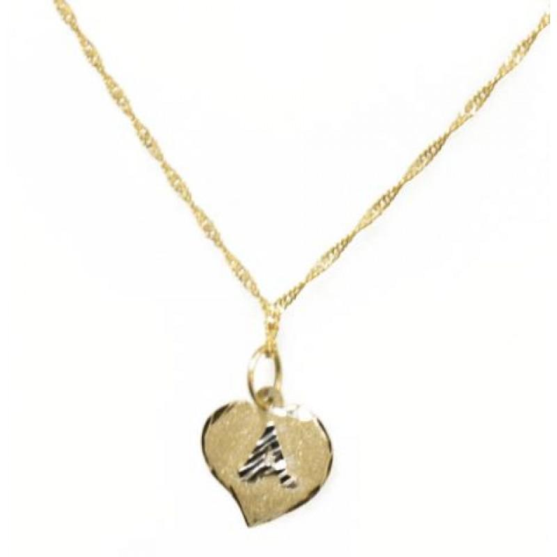 d539a891ddad4 Corrente Feminina com pingente Letra Coração Ouro 18k   Joalheria ...
